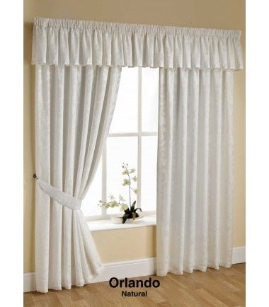 "Orlando Lined Voile Curtains Cream 66"" x 72"" - Pencil Pleat Curtains - Curtains"