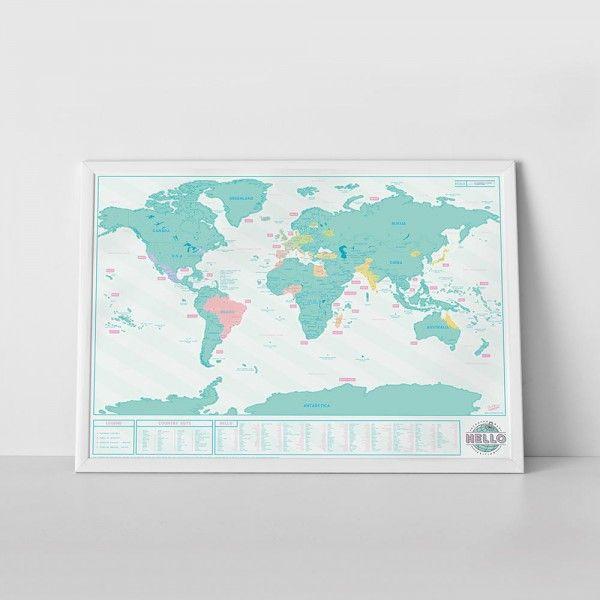 Grande planisphère à gratter de 82,5 x 59,4 cm  Tonalité turquoise fraîche et décorative  Découvrez comment on se salue partout dans le monde  Les couleurs apparaissent au fur et à mesure des voyages...  #voyage #travel #mappemonde #carte #world