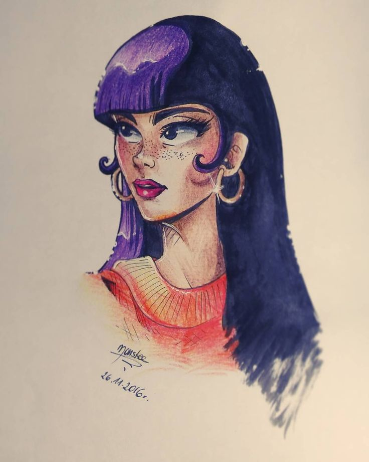 Girl for practice today created by colored pencils. Reference: ilovebangs.tumblr.com #manga #anime #drawing #coloredpencil #pencils #drawing #art #beauty #girl #alternativegirl #cartoon #portrait #practice #bust #elegant #violethair #violet #traditionalart #comic #halfprofile #longhair