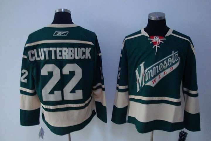 $20.00 NHL Jerseys Minnesota Wild Cal Clutterbuck #22 Green