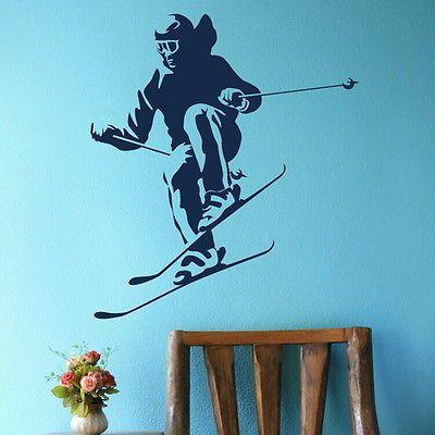 Лыжный спорт стены искусства декора спорт стикер стены главная наклейка росписи плакат