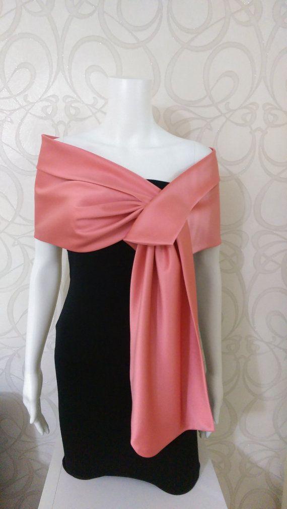 Coral  duchess satin shawl / shrug / bolero / wrap / by MyCoverUp