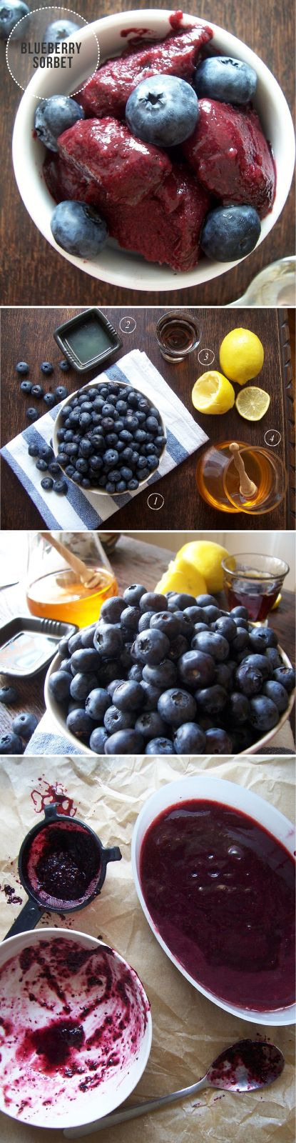 Homemade blueberry sorbet with honey and lemon... I'm needing to try this easy recipe out very soon...