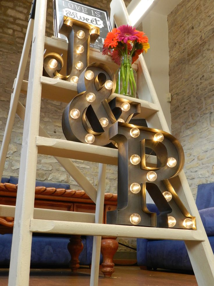 Step Ladder with Lit Initial Letters - Wedding