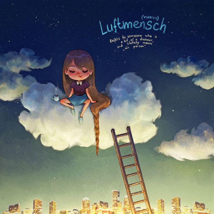 """""""Luftmensch"""". Pra mim, nada mais do que outra versão de Nefelibata. Da série de ilustrações """"Untranslatable Words"""", de Marija Tiurina."""