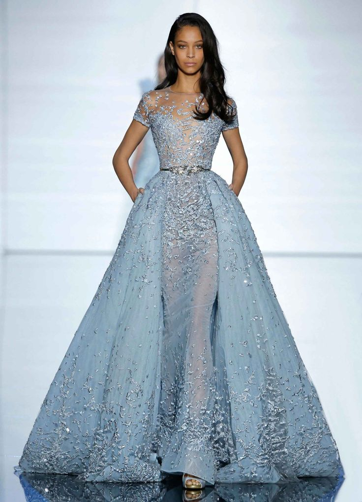 Zuhair Murad Couture Spring 2015- Long aquamarine sheath dress and train with short sleeves in silk tulle with crystal detailing.