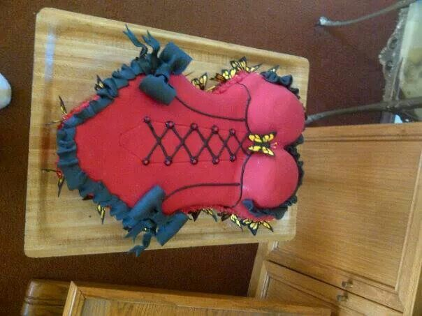 Front view first corset cake with butterflies ♡♡♡ steffy..♡♡♡nailed it!!!!☆☆☆