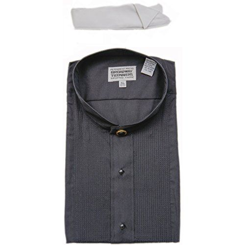 Mens Mandarin No Collar Banded Black Tuxedo Shirt ** You can get additional details at the image link.