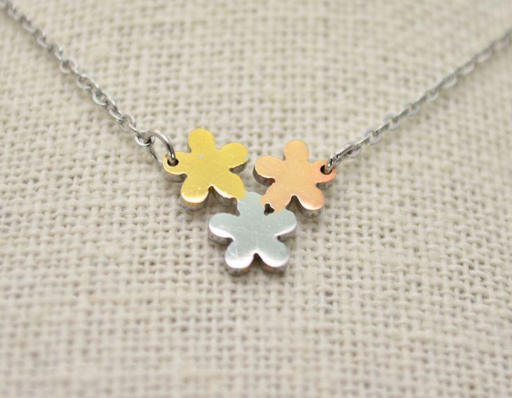 Collar de Acero Flores Tricolor