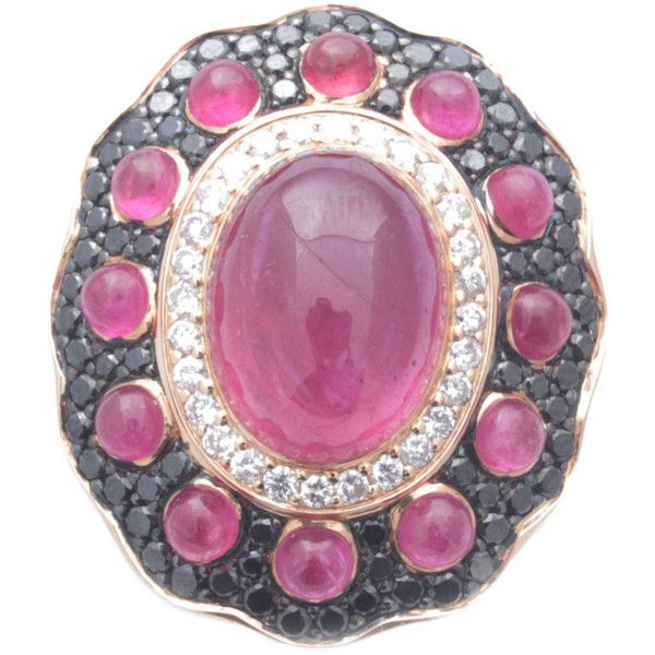 Preowned Ruby Diamond Gold Cocktail Ring ($18,000) ❤ liked on Polyvore featuring jewelry, rings, multiple, diamond rings, yellow gold diamond ring, ruby diamond ring, cabochon ruby ring and cocktail ring
