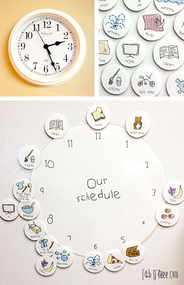"Free Printable helps young children understand the concept of time, become familiar with a hand clock, and a basic schedule.  If you have your child help you set the schedule for the next day, it begins to hold them accountable and helps slow the arguing when it is time for chores, bed, or other ""undesirable"" activities!"