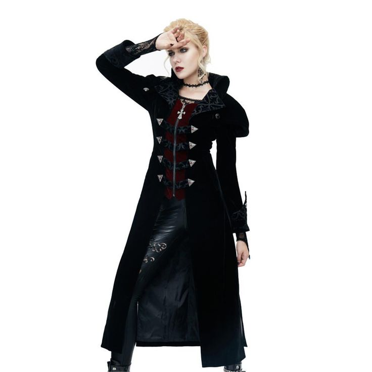 Punk Women Turn-down Collar Winter Jacket Gothic Side Spilt Polyester Long Coat