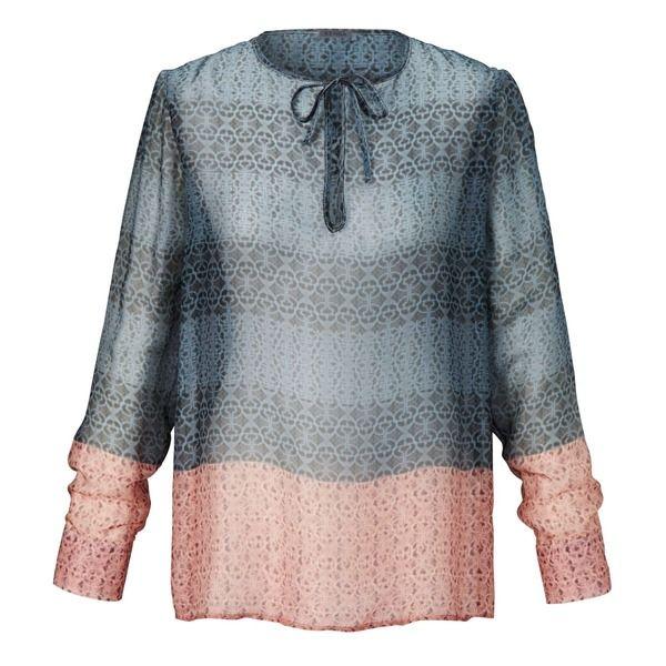 SIENNA Bluse, Kachelprint, Seide, Blau #bluse #silk #sienna