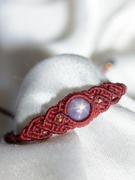 スターサファイア&アイオライト天然石マクラメ編みブレスレット