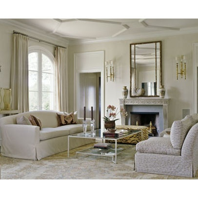 Mirror Over Fireplace, Ceiling, Coffee Table, Light Fixtures