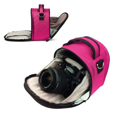 AmazonSmile: MAGENTA HOT PINK Compact Entry Level Canon Camera Bag for Canon EOS Rebel T3 - T3i - T2i - T1i - XS / EOS 60D - 7D / 5D Mark II...