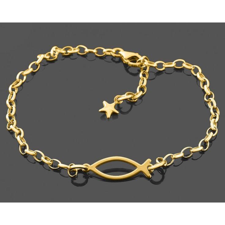 Ein wunderschönes Armband komplett aus 925 Sterling Silber. In das Armband ist ein Tauffisch (Ichthys) eingefasst. Am Ende des Armkettchens hängt ein kleiner 925 Sterling Silber Stern. Das Schmuckstück wird in Juwelierqualität hochwertig vergoldet.