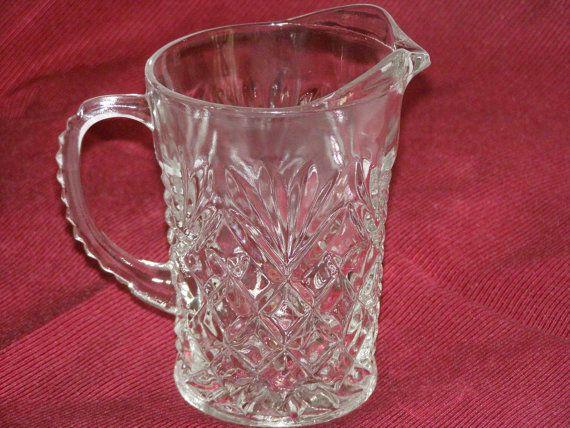 Vintage Clear Pressed Glass Creamer Milk Jug by parkie2 on Etsy, $13.50