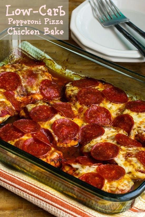 "Low-Carb Pepperoni Pizza Chicken Bake (Gluten-Free - 45 mins, serves 6-8: 1 jar (14 oz) pizza sauce reduced to 1 cup (use the lowest-carb sauce you can find, or make your own pizza sauce and omit the sugar), 4 large boneless-skinless chicken breasts (6-8 oz each), olive oil, oregano, garlic powder, 6 oz piece of part-skim Mozzarella sliced about 1/4"" thick, or 2 oz sliced pepperoni - regular or turkey)"
