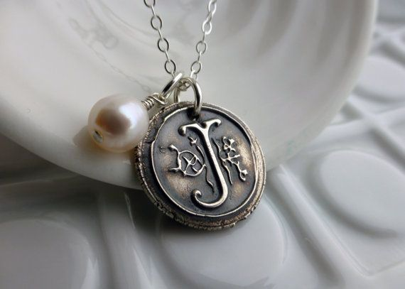 Wax Seal Monogram Necklace - - Vintage Inspired - - Custom Initial with Freshwater Pearl on Etsy, $58.35