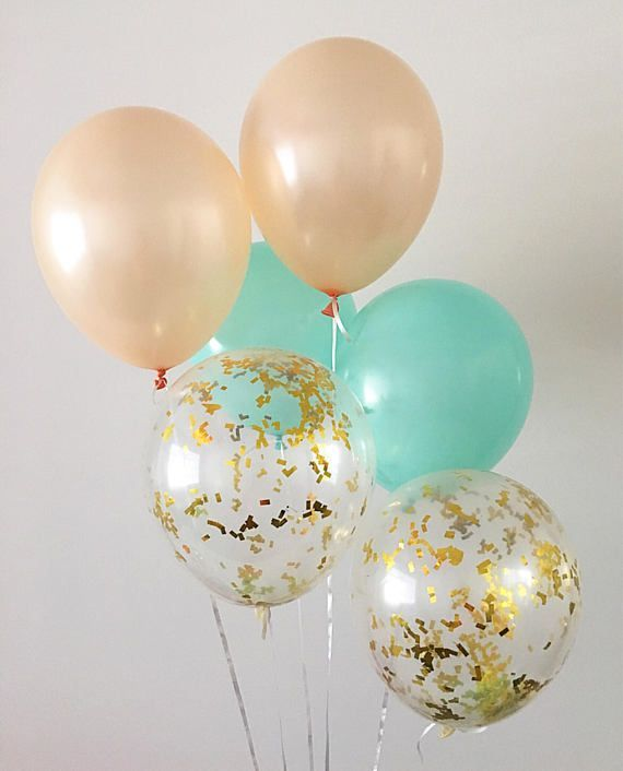 Mint Peach Gold Confetti Latex Balloons Peach and Mint Party Mint Bridal Shower Balloons Baby Shower Peach and Mint Party Supplies Bach