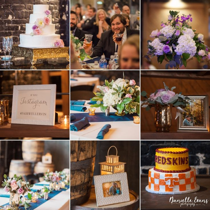 Jackson Terminal, wedding cake, Redskins groom's cake, purple centerpieces | Danielle Evans Photography