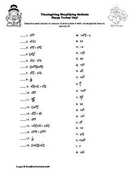Algebra Simplifying Radicals Thanksgiving Puzzle