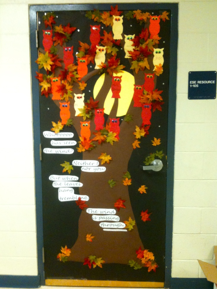 Fall classroom door - not sure about the saying for Pre-K, but love the door.