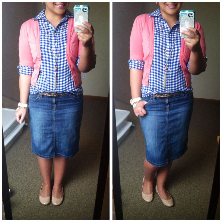 Denim skirt, navy gingham, coral cardigan, coral jewelry, leopard belt, nude flats. Modest spring casual style fashion