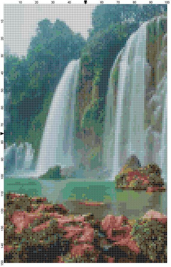 Cross Stitch Pattern Waterfall in Hanoi by theelegantstitchery