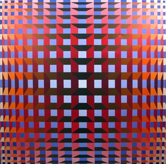 Jean-Pierre Vasarely (1934–2002), professionally known as Yvaral, was a French artist working in the fields of op-art and kinetic art from 1954 onwards. He was the son of Victor Vasarely. In 1975 he coined the phrase 'Numerical Art' to describe artwork composed (or programmed) according to numerical rules or algorithms. From this time onwards he used computers to digitally process and manipulate images, although the final images were always hand painted.