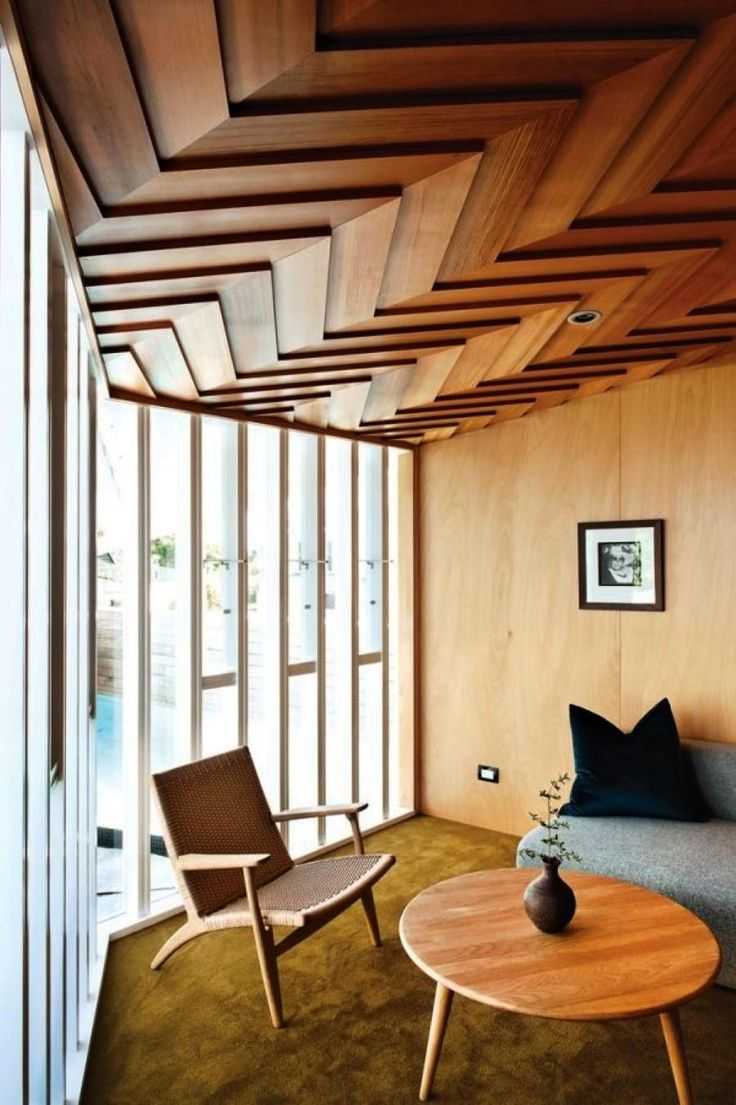FurnitureFascinating Zigzag Wood Ceiling Design Mixed With Framed Glass Wall Also Wooden Seating Area