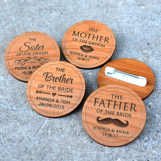 The understated statement for the boys are these wooden bridal party badges! Ditch the traditional boutonniere and try these instead   #shoponline  personalizedfavors.com  #weddingideas #weddinginspo #groom #groomsmen #bestman #bridalparty #groomstyle #groomprep #misspfusa #personalizedfavors