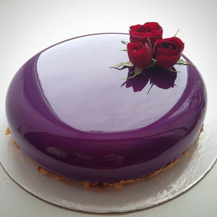bolo espelho com flores
