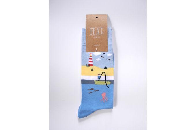 Men's cotton sock with fishing scene in blue tones.80% cotton, 18% nylon, 2% elastane. UK size 8-11