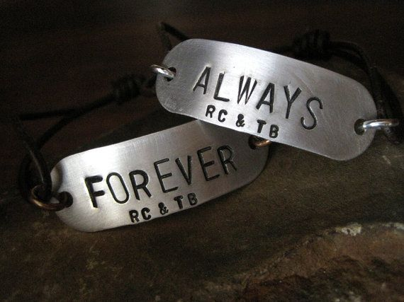 A great way to show the world your commitment to each other. A sentimental, personalized gift that looks great layered with other bracelets or on