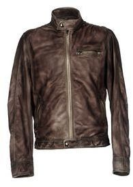 $197, Dark Brown Leather Bomber Jacket: Vintage De Luxe Jackets. Sold by yoox.com. Click for more info: https://lookastic.com/men/shop_items/188868/redirect