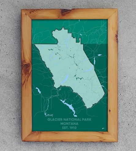 Glacier National Park Map Print | Maybe you can't get out to your favorite national park just ye... | Posters