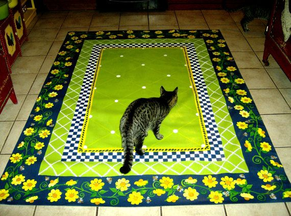 Floorcloth  COUNTRY COTTAGE   decor 5'x7'-great design and color-must design something similar with faux cat just like this one, added to design!