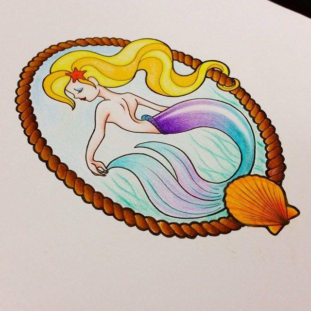 A quick design from Pippa Ng #tattoo #mermaid #shell #woman #fish #tail #rope #n…   – Mermaids-tattoos & art