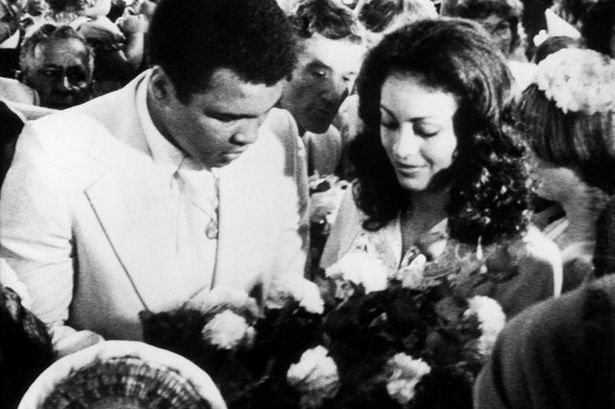 Muhammad Ali and his wife Veronica on their visit to South Shields Mosque in Newcastle today for a blessing of their marriage, July 1977 (Pic:PA)