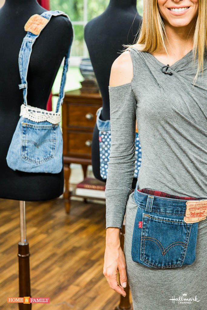 Your old worn out jeans into a fashionable jean jacket fanny pack by be sure to watch home family weekdays at on hallmark channel