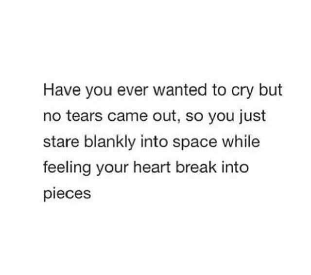Have you ever wanted to cry but no tears came out, so you just stare blankly into space while feeling your heart into pieces