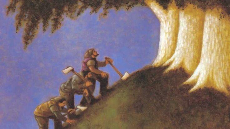 De vertelling van de drie bomen bij Pasen.