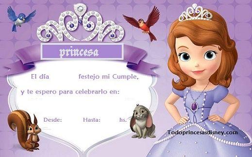 Invitación de Cumpleaños con Sofía la Princesa