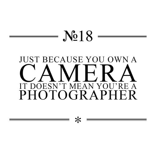 Owning a camera makes you a camera owner not a professional. Harsh, I know, but true! A professional who charges people for their services is skilled, has invested in education, equipment, software & has loads of experience behind them. Anyone can push a button but a professional photographer creates a image that the average user wouldn't otherwise be able to capture. These attributes cannot be learned overnight. I'm baffled as to why people think it's effortlessly easy to do this job. They t...Sooo True, User Wouldnt, Photographers Create, Charging People, Average User, Cameras Owners, Buttons, Dr. Who, Professional Photographers