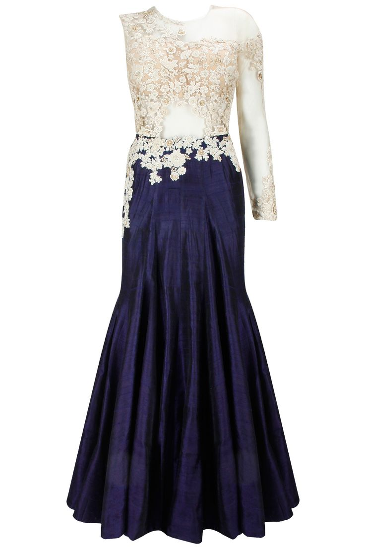Navy blue and beige embroidered sheer anarkali available only at Pernia's Pop-Up Shop.