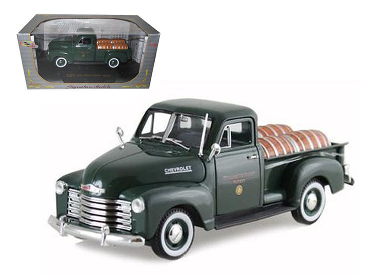 """1950 Chevrolet Pickup Truck Green With Barrels """"Willamette Valley Winery 1/32 Diecast Model Car by Signature Models - Brand new 1:32 scale diecast model of 1950 Chevrolet Pickup Truck Green With Barrels """"Willamette Valley Winery die cast car by Signature Models. Brand new box. Rubber tires. Dimensions approximately L-6. Has opening doors, hood and rear gate. Made of diecast with some plastic parts. Detailed interior, exterior, engine compartment. Please note that manufacturer may change…"""