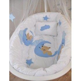 Sepet Beşik İçin Mavi Ayıcıklı Uyku Seti