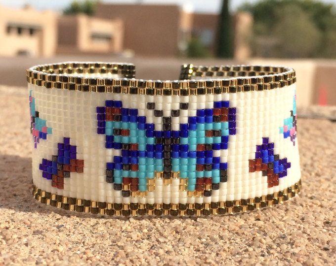 Mariposas del grano telar pulsera Boho Chic bohemio regalos para su joyería artesanal occidental del grano nativo americano inspiraron suroeste